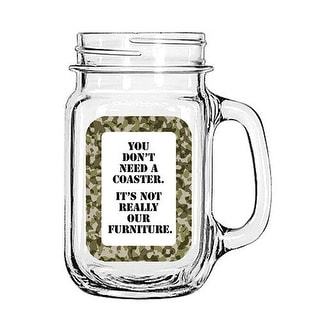 Vintage Glass Mason Jar Cup Mug Lemonade Tea Decor Painted Funny-You don't need a coaster. It's not really our Furniture.