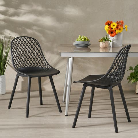 "Lily Outdoor Modern Dining Outdoor Modern Dining Chair (Set of 2) by Christopher Knight Home - 18.00"" W x 21.50"" L x 33.20"" H"