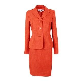 Le Suit Women's Cote D'Azur Woven Skirt Suit Set - TANGERINE