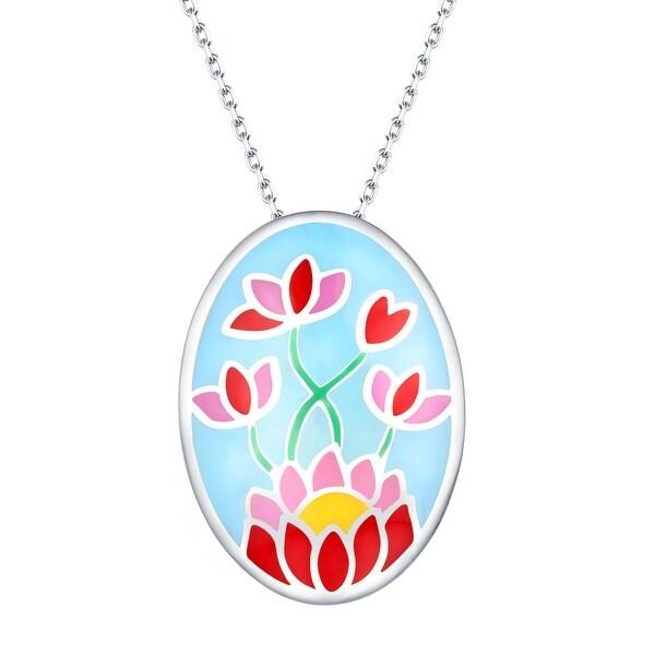 Vedantti Madhubani Art Lotus and Sunflower Multi Color Enamel Necklace