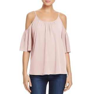 French Connection Womens Polly Plains Casual Top Cold Shoulder Bell Sleeves