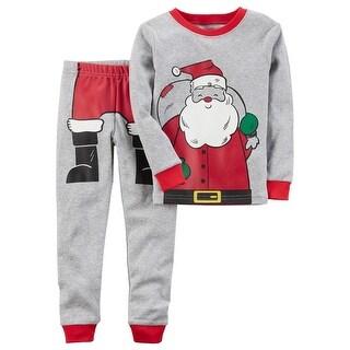 Carter's Baby Boys' 2-Piece Santa Snug Fit Cotton PJs, 18 Months - gray
