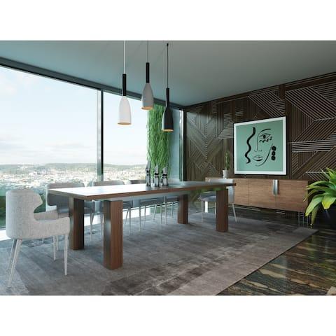 Modrest Maxi Modern Walnut & Stainless Steel Dining Table