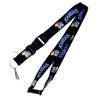 Kansas Jayhawks Clip Lanyard Keychain Id Holder Ticket - Black