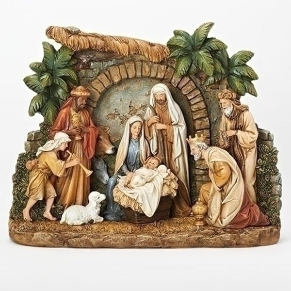 """13.25"""" Vibrantly Colored Nativity Scene Christmas Tabletop Figure - brown"""
