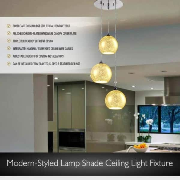 Pendant Light Triple Hanging Lamp Ceiling Light Fixture Sculpted Glass Lighting Accents Overstock 27585229