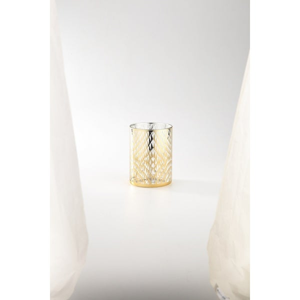 """6"""" Gold and Clear Cylindrical Hand Blown Glass Tabletop Decor - N/A"""