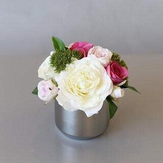 Mademoiselle White Pink Rose Floral Arrangement in Ceramic Vase