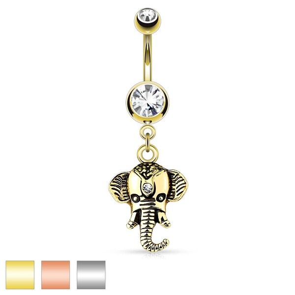 Elephant Dangle 316L Surgical Steel Double Jeweled Belly Button Rings