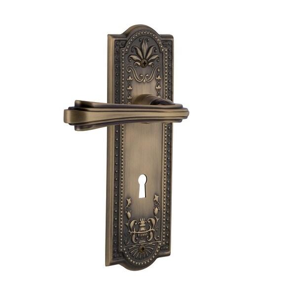 """Nostalgic Warehouse MEAFLR_PSG_238_KH Fleur Passage Door Lever Set with Meadows Rose and Decorative Keyhole for 2-3/8"""" Backset"""
