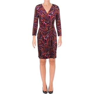 Anne Klein Womens Wear to Work Dress Printed Faux Wrap