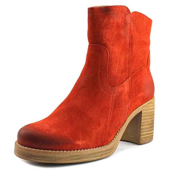 MTNG 97154 Women Round Toe Leather Orange Ankle Boot