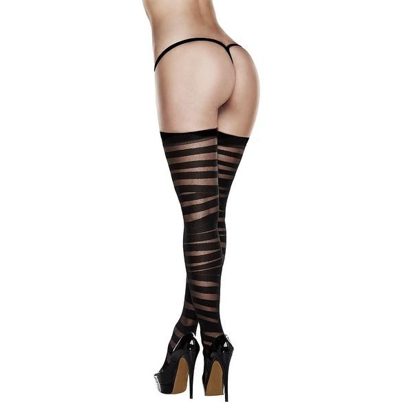 c763e3cc2 Shop Black Striped Thigh Highs
