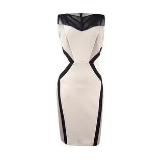 Jax Women's Colorblocked Mesh Illusion Dress - Beige/Black - 4