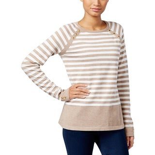 Karen Scott Womens Petites Sweater Striped Long Sleeves - pxl