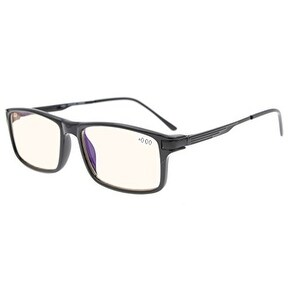 Eyekepper Amber Tinted Lenses TR90 Frame Spring Hinges Rectangle Reading Glasses Black +0.75