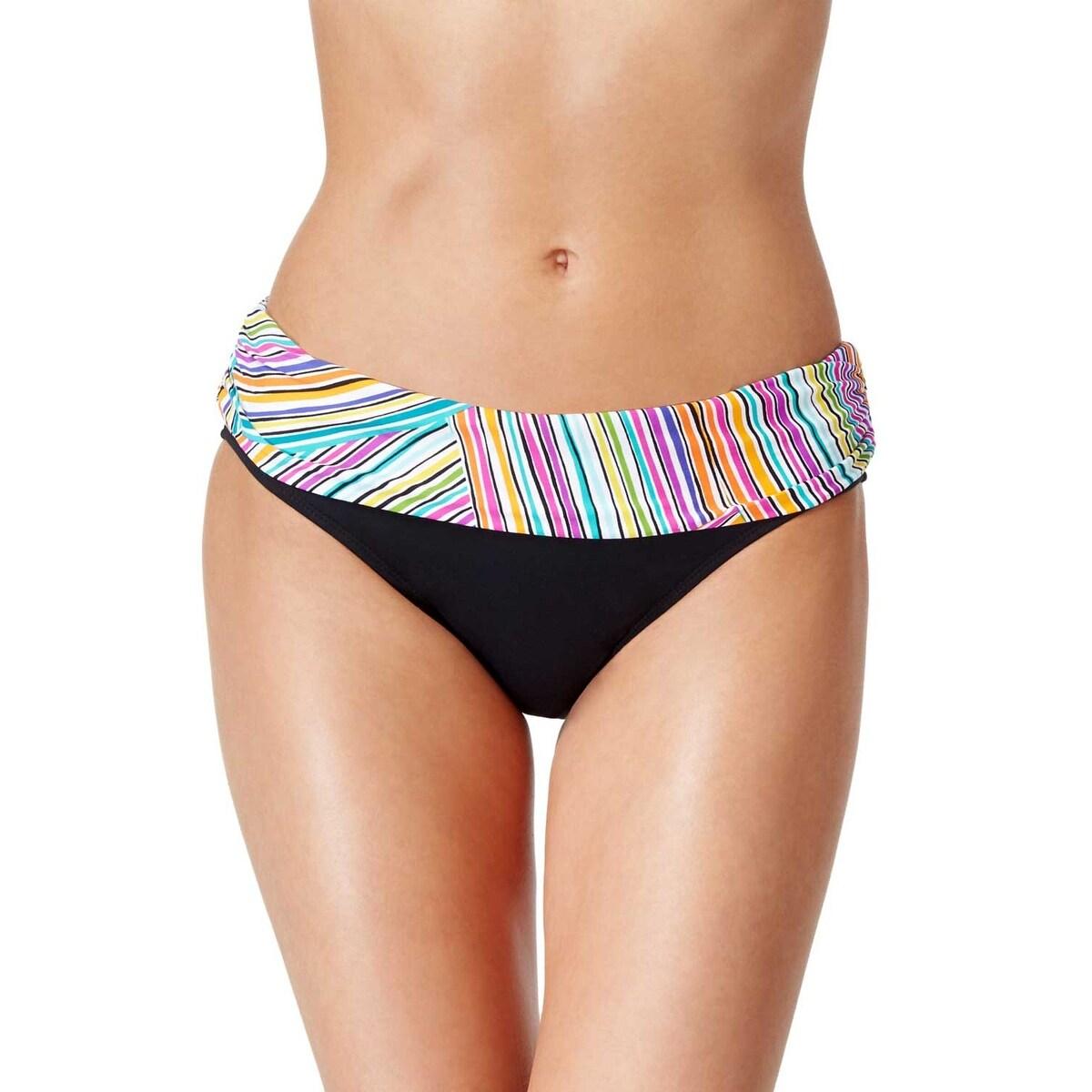 NEW Anne Cole Triangle Stripe Foldover Swim Hipster Bikini Bottom S Small