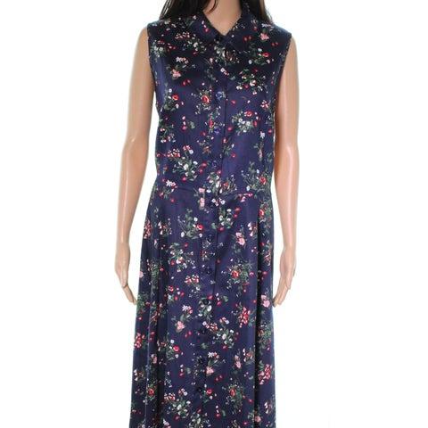 Chetta B Blue Floral Printed Button Down Women Size 16 Shift Dress