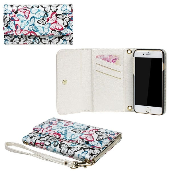JAVOedge Butterfly Clutch Wallet Case with Matching Wristlet for iPhone 6 (4.7 inch)