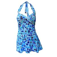 Twist Front Ruched Side Halter Tie Swimdress in Multi Blue Tile Print