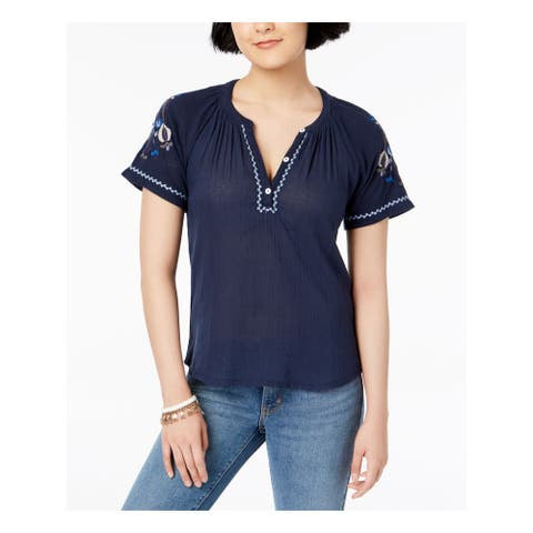 LUCKY BRAND Womens Navy Short Sleeve V Neck Top Size XS