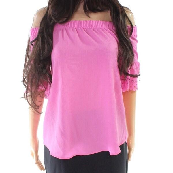 Moa Moa Fuschia Pink Women's Size XS Laser Cut Off Shoulder Blouse