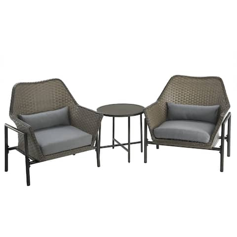 3-Piece Gray All Weather PE Wicker Furniture Set - N/A