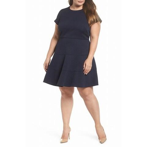 Eliza J Blue Women's Size 22W Plus Textured Fit Flare A-Line Dress
