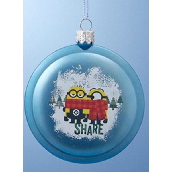"3.5"" Despicable Me Blue Minions ""Share"" Disc Christmas Ornament"