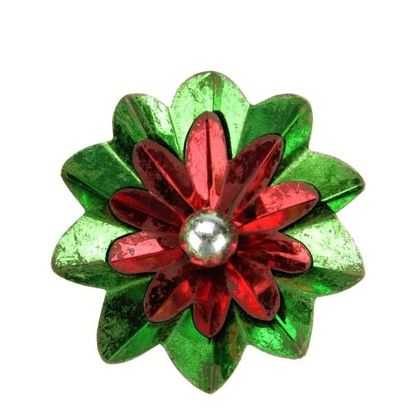 """2.75"""" Distressed Shiny Green, Red and Silver Flower Clip-On Christmas Tree Ornament"""