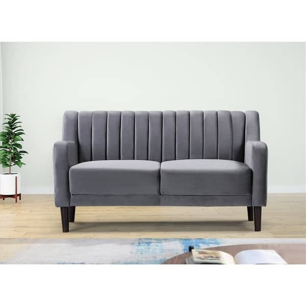 Sabatino Velvet 57 5 Square Arms Loveseat On Sale Overstock 31244212
