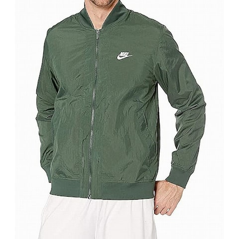Nike Mens Jacket Green Size XL Activewear Bomber Standard-Fit Logo