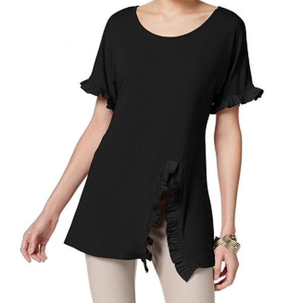NY Collection Black Women's Size Small S Ruffle Split Blouse