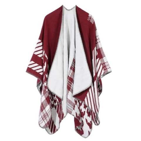 Cardigan Poncho Cape Women Elegant Cardigan Shawl Wrap Sweater Coat - One Size