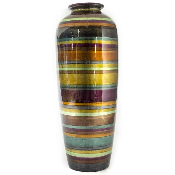 """24"""" Ceramic Water Jug Floor Vase - Ceramic, Lacquered In Eggplant, Bronze, Gold, Green, Copper And Pewter"""