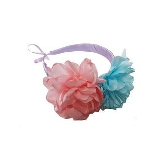 Girls Blue Coral Two Carnations Headband Fancy Diadem - One Size
