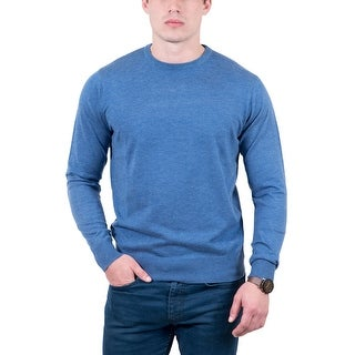 Real Cashmere Light Blue Crewneck Cashmere Blend Mens Sweater