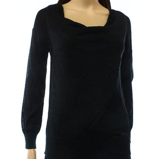 INC NEW Black Women's Size Large L Cowl Neck Shimmer Knit Sweater