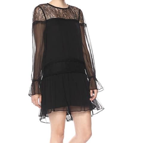 Ramy Brook Women's Watson Dress Black Size Small S Floral Lace Fringe