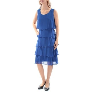 SLNY $119 Womens New 2610 Blue Beaded Tiered Sleeveless Sheath Dress 6 B+B