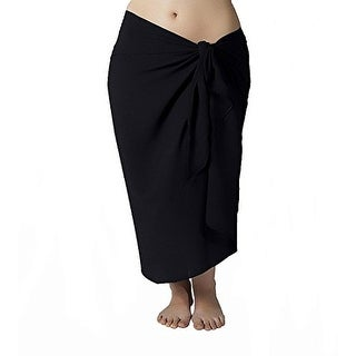 Plus Size Long Black Swimsuit Sarong Cover up with Built in Ties