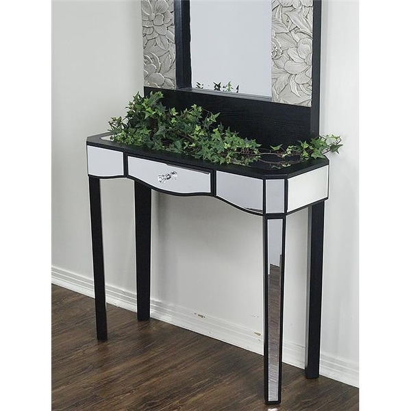 Shop Elizabeth 1 Drawer Mirrored Console Table Black Free