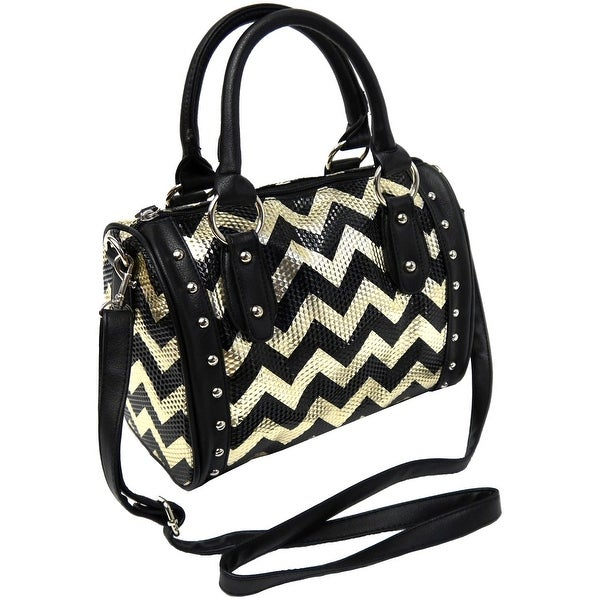 Top-handle Handbag Sparkle Purse Tote Cross Body Shoulder Bag Messenger, Gold - Black/Grey