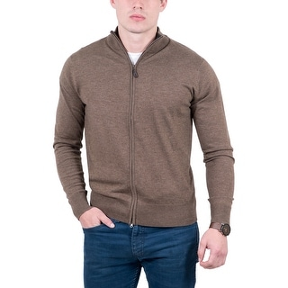 Real Cashmere Brown Fine Knit Full Zip Cardigan