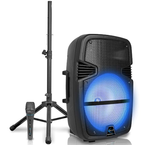 """Technical Pro 3000 Watt Rechargeable 15"""" Bluetooth LED Speaker Package with Tripod & Microphone"""