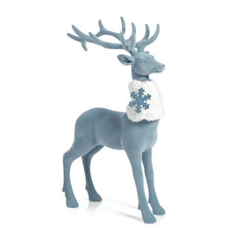 Blue Flocked Standing Deer Figurine Statue with Scarf