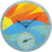 Springfield  14 in. Poly Resin Wall Clock with Thermometer - Sunrise