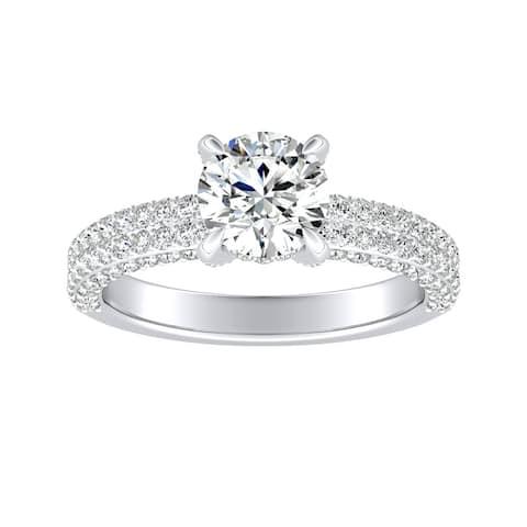 Auriya 14k Gold Unique 1 1/3cttw Double Edged Pave Diamond Engagement Ring