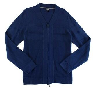 Alfani NEW Blue Mens Size Large L Texture Ottoman Full Zip Sweater