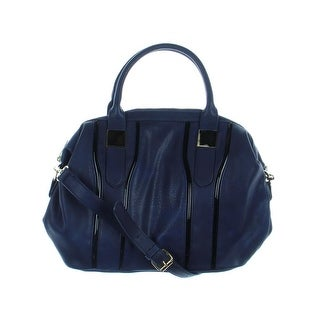 Big Buddha Womens Tudor Faux Leather Lined Satchel Handbag - Navy - Large